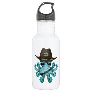 Niedlicher blaues Baby-Kraken-Sheriff Edelstahlflasche