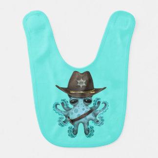 Niedlicher blaues Baby-Kraken-Sheriff Lätzchen