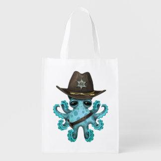 Niedlicher blaues Baby-Kraken-Sheriff Wiederverwendbare Einkaufstasche