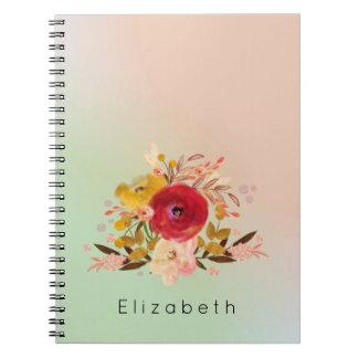 Niedlicher Blumenwatercolor-Blumenstrauß Spiral Notizblock