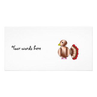 Niedlicher brauner Truthahn Fotokartenvorlagen