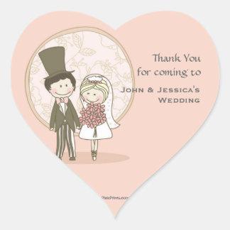 Niedlicher Braut-und Bräutigam-Aufkleber Rücksende