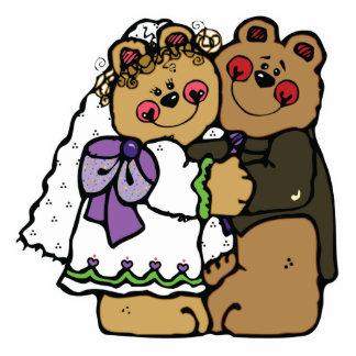 niedlicher Braut und Bräutigam Teddybärnentwurf Freistehende Fotoskulptur