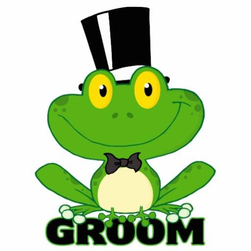 niedlicher Bräutigam-Cartoon-Froschcharakter Fotostatuen