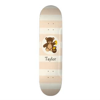 Niedlicher Brownteddy-Bär mit gelbem Honig Bedrucktes Skateboard