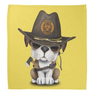 Niedlicher Bulldoggen-Welpen-Zombie-Jäger Kopftuch