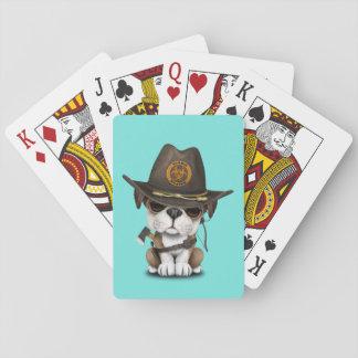 Niedlicher Bulldoggen-Welpen-Zombie-Jäger Spielkarten