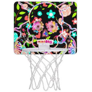 Niedlicher bunter Blumenschädel Mini Basketball Ring