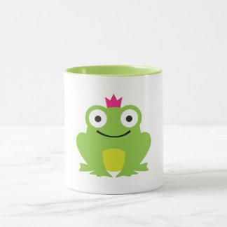 Niedlicher, bunter Frosch mit rosa Kronenentwurf Tasse