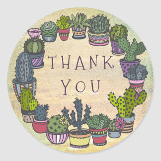 Niedlicher bunter Kaktus danken Ihnen Runder Aufkleber