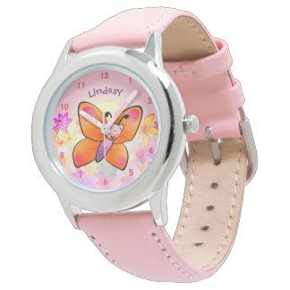 Niedlicher bunter Schmetterlings-Cartoon Uhren