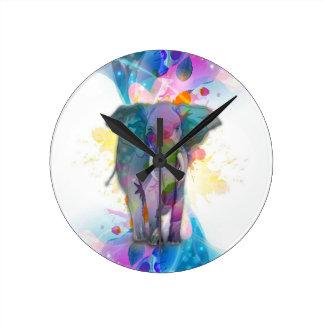 niedlicher bunter Wasserfarbe-Spritzerelefant Uhren