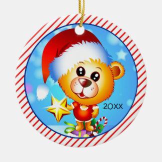 Niedlicher Cartoon-Bär für das 1. Weihnachten des Rundes Keramik Ornament