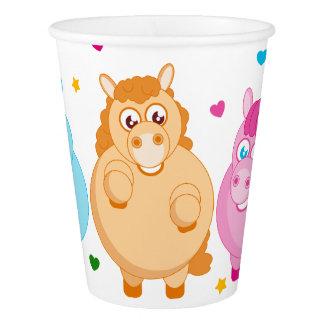 Niedlicher Cartoon der kleinen bunten Ponys, Pappbecher