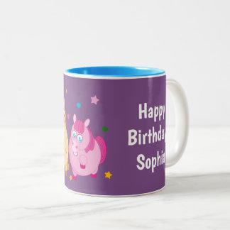 Niedlicher Cartoon der kleinen bunten Ponys, Zweifarbige Tasse