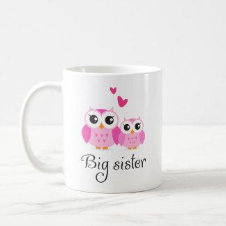 Niedlicher Cartoon der kleinen Schwester der große Tasse