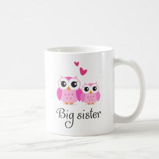 Niedlicher Cartoon der kleinen Schwester der große Kaffeetasse