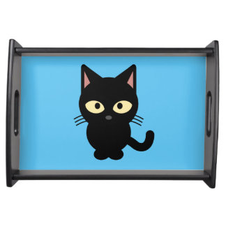Niedlicher Cartoon der schwarzen Katze Serviertablett