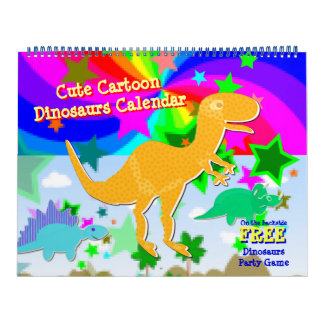 Niedlicher Cartoon-Dinosaurier-Kinderkalender Wandkalender