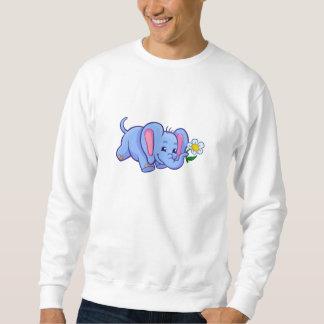 Niedlicher Cartoon-Elefant mit Blume Sweatshirt
