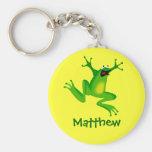 Niedlicher Cartoon-Frosch-personalisiertes Namensg Schlüsselanhänger