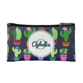 Niedlicher Cartoon-Kaktus u. Monogramm mit Namen Kosmetiktasche