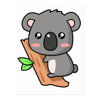 Niedlicher Cartoon-Koala betreffen Eukalyptus-Baum Postkarte