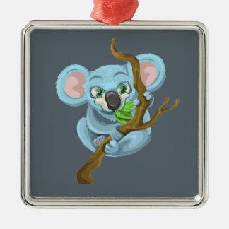 Niedlicher Cartoon-Koala Quadratisches Silberfarbenes Ornament