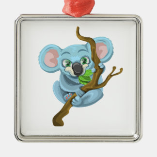 Niedlicher Cartoon-Koala Silbernes Ornament