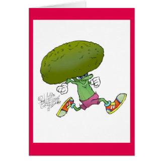 Niedlicher Cartoon laufender Brokkoli, auf einer Karte