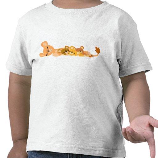 Niedlicher Cartoon-Mama-Löwe und CUB-Kinderkleid T Shirts