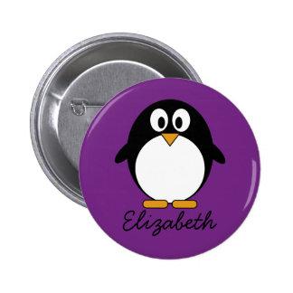 niedlicher Cartoon Penguin lila Runder Button 5,7 Cm