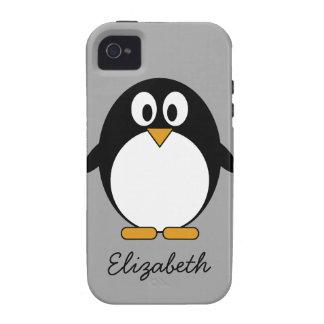 Niedlicher Cartoon Penguin mit grauem Hintergrund Case-Mate iPhone 4 Hüllen