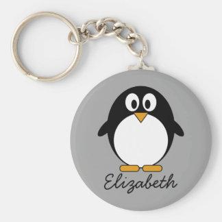 Niedlicher Cartoon Penguin mit grauem Hintergrund Schlüsselanhänger