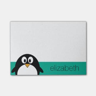 niedlicher Cartoon Penguinsmaragd und -SCHWARZES Post-it Klebezettel
