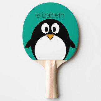 niedlicher Cartoon Penguinsmaragd und -SCHWARZES Tischtennis Schläger
