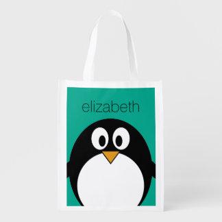 niedlicher Cartoon Penguinsmaragd und -SCHWARZES Wiederverwendbare Einkaufstasche