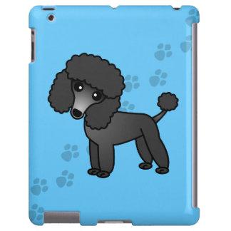 Niedlicher Cartoon-Schwarz-Pudel auf blauem Tatzen iPad Hülle