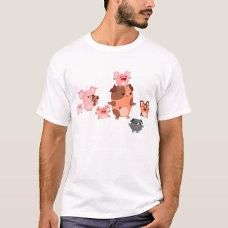 Niedlicher Cartoon-Schwein-Familien-KinderT - T-Shirt