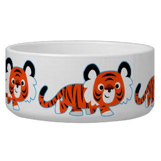 Niedlicher Cartoon-Tiger auf der Napf