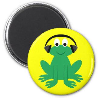 Niedlicher Cartoonfrosch mit Kopfhörermagneten Kühlschrankmagnet