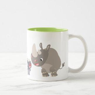 Niedlicher Cartoongroßer Rhino und BabyRhino Zweifarbige Tasse