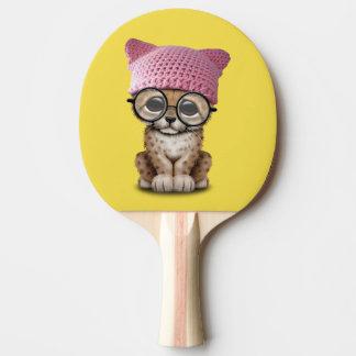 Niedlicher Cheetah-CUB tragender Pussy-Hut Tischtennis Schläger