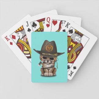 Niedlicher Cheetah-CUB-Zombie-Jäger Spielkarten