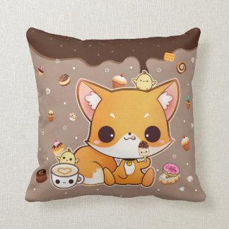 Niedlicher chibi Fuchs mit kawaii Eiscreme Kissen