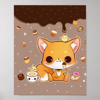 Niedlicher chibi Fuchs mit kawaii Eiscreme Poster