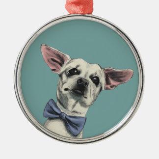 Niedlicher Chihuahua mit dem Rundes Silberfarbenes Ornament