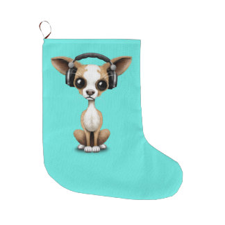 Niedlicher Chihuahua-Welpen-tragende Kopfhörer Großer Weihnachtsstrumpf
