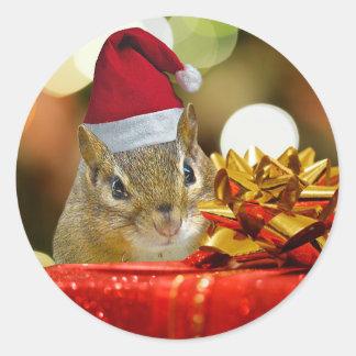 Niedlicher Chipmunk-frohe Weihnachten Runder Aufkleber