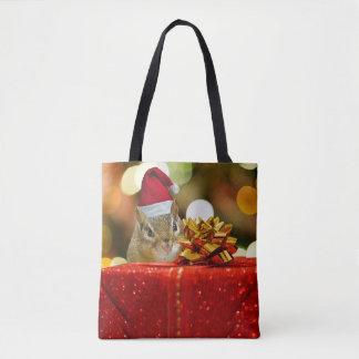 Niedlicher Chipmunk-frohe Weihnachten Tasche